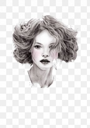 Simple Gray Curly Hair Beauty - Portrait Drawing Pencil Fashion PNG