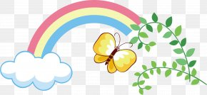 Rainbow Vector Element - Butterfly Rainbow Euclidean Vector PNG