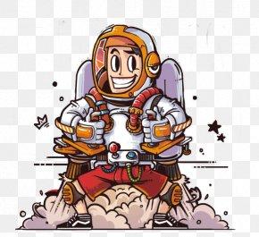 Rocket Man - Cartoon Rocket Man Illustration PNG