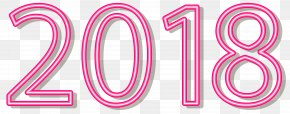 2018 Neon Style Pink Clip Art Image - Sticker Clip Art PNG