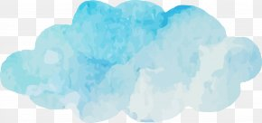 Watercolor Blue Clouds Vector - Blue Sky Cloud Turquoise Font PNG
