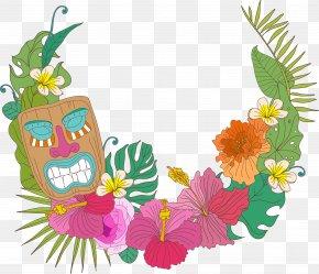 Hawaiian Flowers Decorative Frame PNG