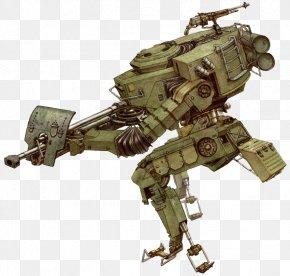 Simple Brown Mechanical Warrior - Robot Concept Art Mecha Model Sheet PNG