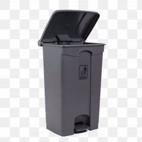 Large Gray Trash Can - Waste Container Plastic Grey PNG