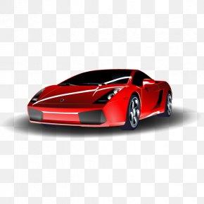 Red Lamborghini Car - Sports Car Birthday Greeting Card Clip Art PNG