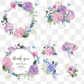 Vector Colored Bouquet Wreath - Flower Garden Hydrangea Blossom PNG