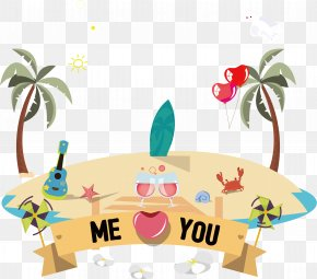 Summer Beach Background - Wedding Invitation Beach Couple Clip Art PNG