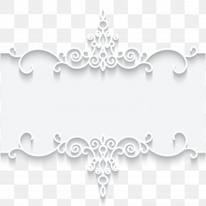 White Lace Pattern Frame Card Vector Illustration - Paper Lace Picture Frame Textile PNG