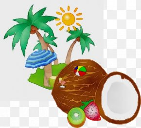 Fruit Palm Tree - Coconut Tree Drawing PNG