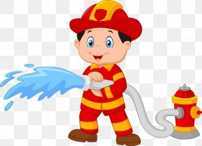 Fireman Holding A Cartoon Picture Of Hose - Firefighter Cartoon Royalty-free Clip Art PNG
