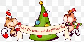 Merry Christmas With Monkeys Clipart Image - Christmas Decoration Christmas Eve Monkey Clip Art PNG