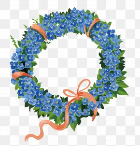 Fresh Blue Flowers Green Leaves Wreath - Illustration PNG
