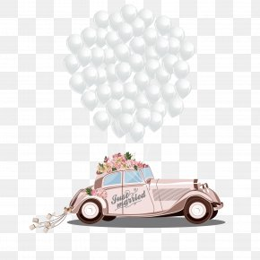 Romantic Wedding Car - Wedding Invitation Marriage Bridegroom Cartoon PNG