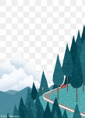 Hand-painted Cars Winding Trail - August Illustrator Cover Art Illustration PNG