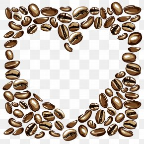 Vector Heart-shaped Peach Shade Coffee Beans PNG