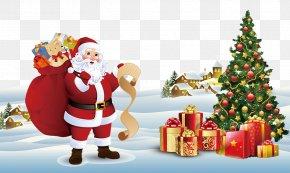 Santa Claus Christmas Tree - Santa Claus Christmas Tree Gift Christmas Card PNG