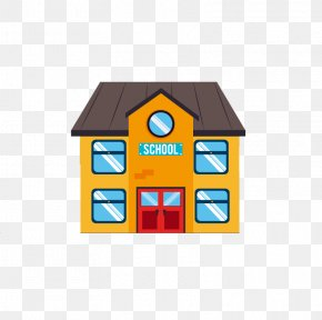 Cartoon School Building - Student School Cartoon Illustration PNG