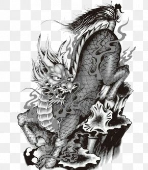 Black And White Unicorn Pattern - Qilin Tattoo U7075u517d Black And White Brouillon PNG