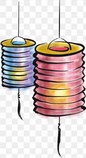 Hand-painted Watercolor Lantern - Mid-Autumn Festival Lantern Festival Mooncake Clip Art PNG