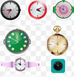 Vector Painted Flat Clock - Pocket Watch Clock PNG