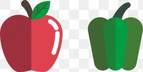 Vector Apple And Green Pepper - Apple Cartoon Clip Art PNG