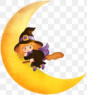 Halloween Witch On The Moon Clipart - Halloween Witch Moon Clip Art PNG