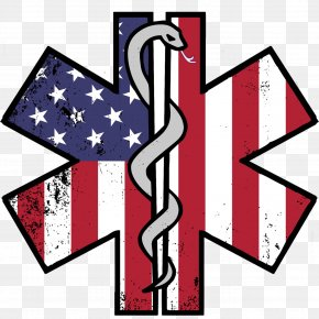 Flag - Flag Of The United States Star Of Life Firefighter Decal PNG
