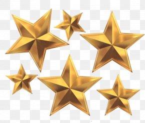 Gold Five Star - Pentagram PNG