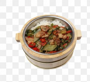 Free Rice Barrel Pull Element - Pepper Steak Kung Pao Chicken Breakfast Cooked Rice PNG