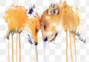 The Fox And The Lion In Profile Cartoon Material - Fox Or Lion Drawing Download PNG