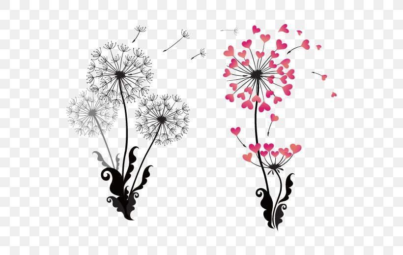 Dandelion Drawing Stock Photography Clip Art, PNG, 568x518px, Dandelion, Black And White, Blossom, Branch, Cherry Blossom Download Free