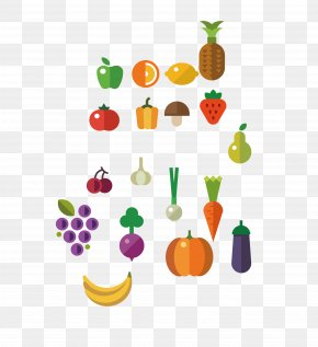 Large Collection Of Fruits And Vegetables Vector Material - Fruit Vegetable PNG