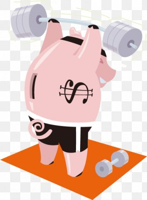 Vector Cartoon Fitness - Pig Olympic Weightlifting Barbell Clip Art PNG