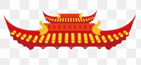 Red Roof Building - Roof Tiles Chinoiserie Chinese Architecture PNG
