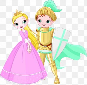 The Prince And The Princess With The Shield - Knight Princess Cartoon Illustration PNG