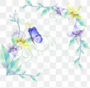 Green Fresh Tree Butterfly Border Texture - Butterfly Picture Frame PNG