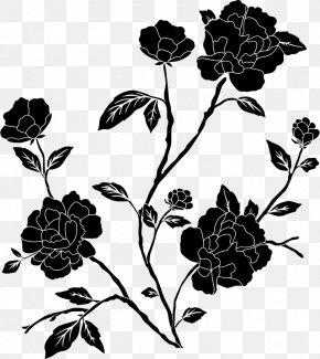 Black And White - Flower Black And White Clip Art PNG
