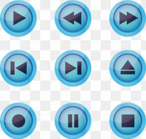 Vector Hand-painted Blue Play Button Icon Associated - Button Euclidean Vector Download Icon PNG