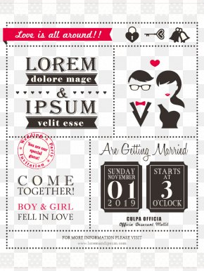 Creative WordArt Wedding Invitation Card Vector Material - Wedding Invitation Save The Date Illustration PNG