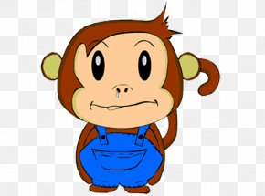 Little Monkey With Cartoon Nose - Monkey Cartoon Nose Animation PNG