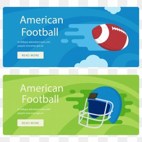 Vector American Football Banner Helmet And Ball - American Football Rugby Football Football Helmet PNG