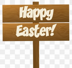 Happy Easter Wooden Sign Transparent Clip Art Image - Easter Sign Clip Art PNG