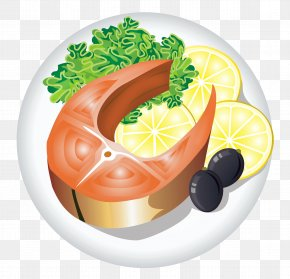 Fish Dish With Lemon Clipart Image - Fish And Chips Seafood Fish As Food Dish Clip Art PNG