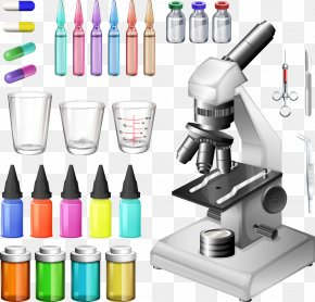 Vector Colored Utensils And Microscope - Medical Equipment Medicine Stock Photography Laboratory PNG