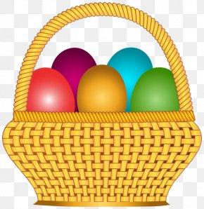 Cartoon Bamboo Basket - Easter Bunny Red Easter Egg Basket Clip Art PNG