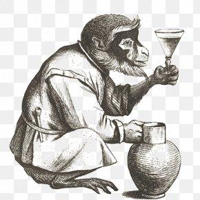 Monkey - Monkey Cocktail Common Chimpanzee Engraving Fizz PNG