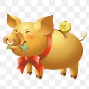 Golden Pig Piggy Bank - Pig Adobe Illustrator Clip Art PNG
