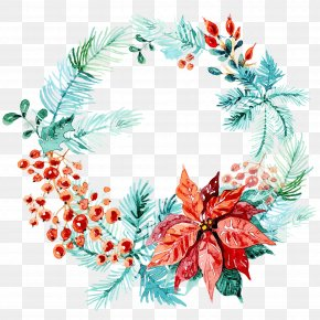 Wreath Watercolor Painting Christmas Day Garland PNG