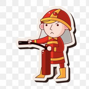 A Fireman With A Fire Extinguisher - Firefighter Flame Fire Extinguisher PNG