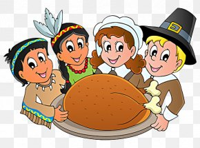 Eat Turkey On Thanksgiving - Thanksgiving Day Pilgrims Clip Art PNG